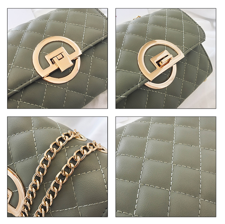 Fashion Small Square Bag Handbag 2019 High-quality PU Leather Chain Mobile Phone Shoulder bags Green one size 48