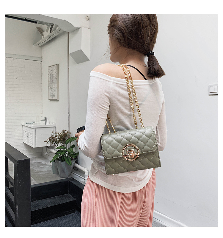 Fashion Small Square Bag Handbag 2019 High-quality PU Leather Chain Mobile Phone Shoulder bags Green one size 12