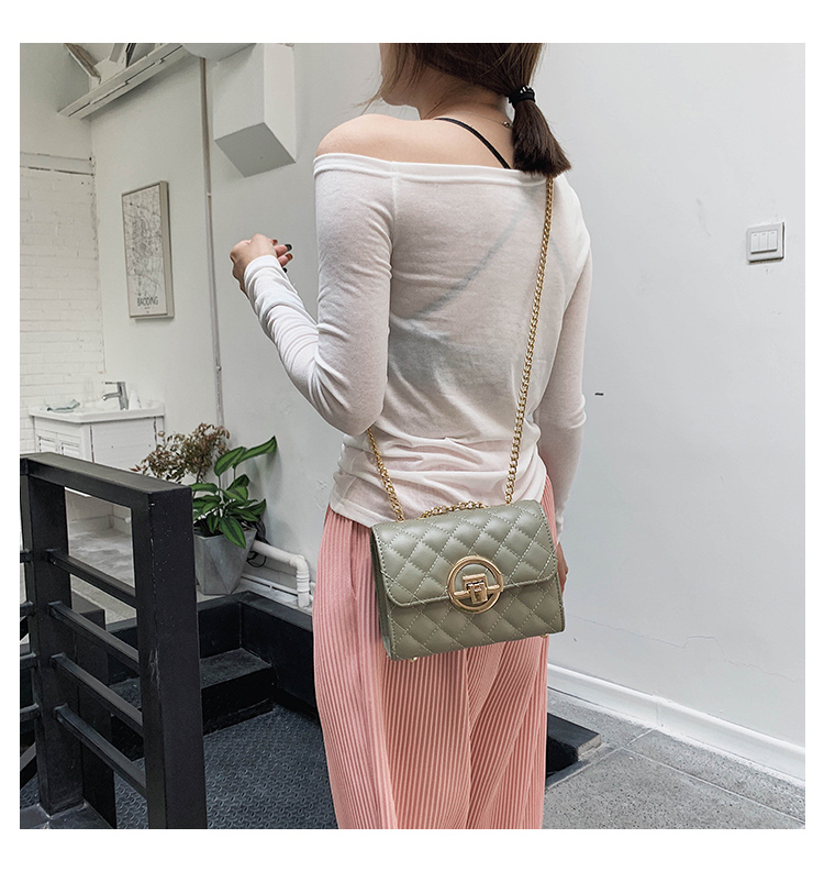 Fashion Small Square Bag Handbag 2019 High-quality PU Leather Chain Mobile Phone Shoulder bags Green one size 10
