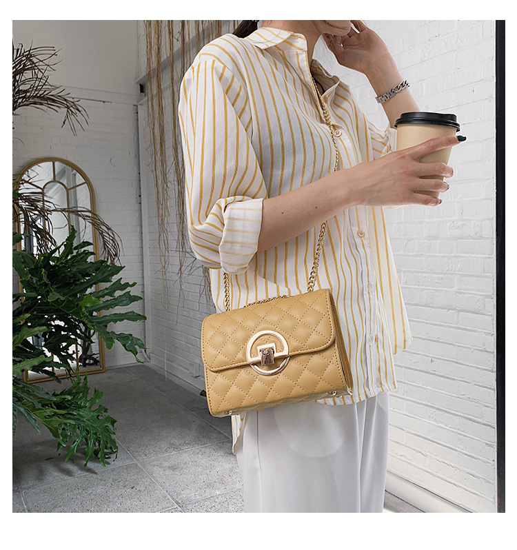 Fashion Small Square Bag Handbag 2019 High-quality PU Leather Chain Mobile Phone Shoulder bags Green one size 25