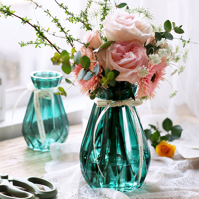 Glass vase transparent hydroponic green dill European home living room decoration pastoral small fresh dry vase flower arrangement gardening