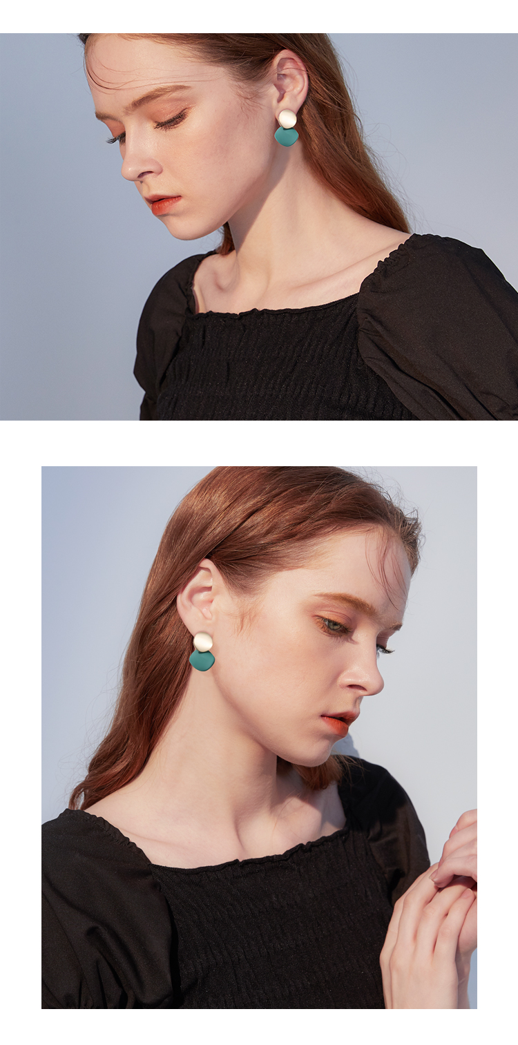 莫兰迪绿色系高级感耳环女简约网红时尚个性小众气质春款耳针耳饰详细照片