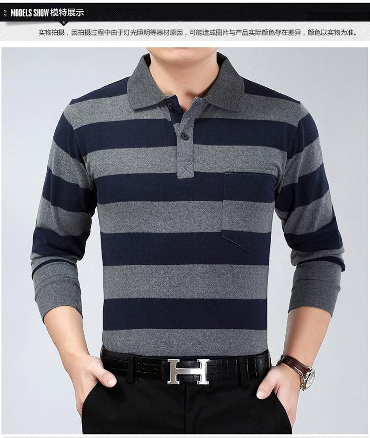 2018 người đàn ông mới của dài tay T-Shirt cotton lỏng trung niên cha nạp sọc ve áo bất pocket POLO áo sơ mi áo phông trắng nam