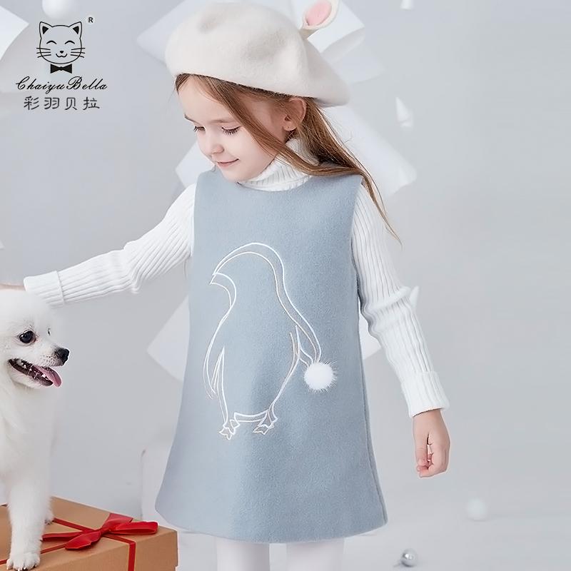 2019韩版新款女童背心裙中大童可爱卡通企鹅秋冬儿童连衣裙童装女