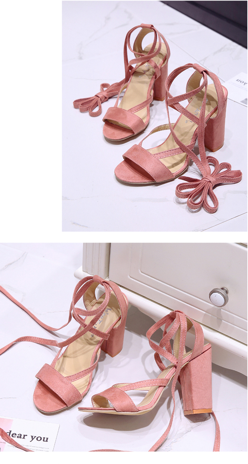 Summer new Roman style cross straps thick with sandals wild small fresh high heels. 10