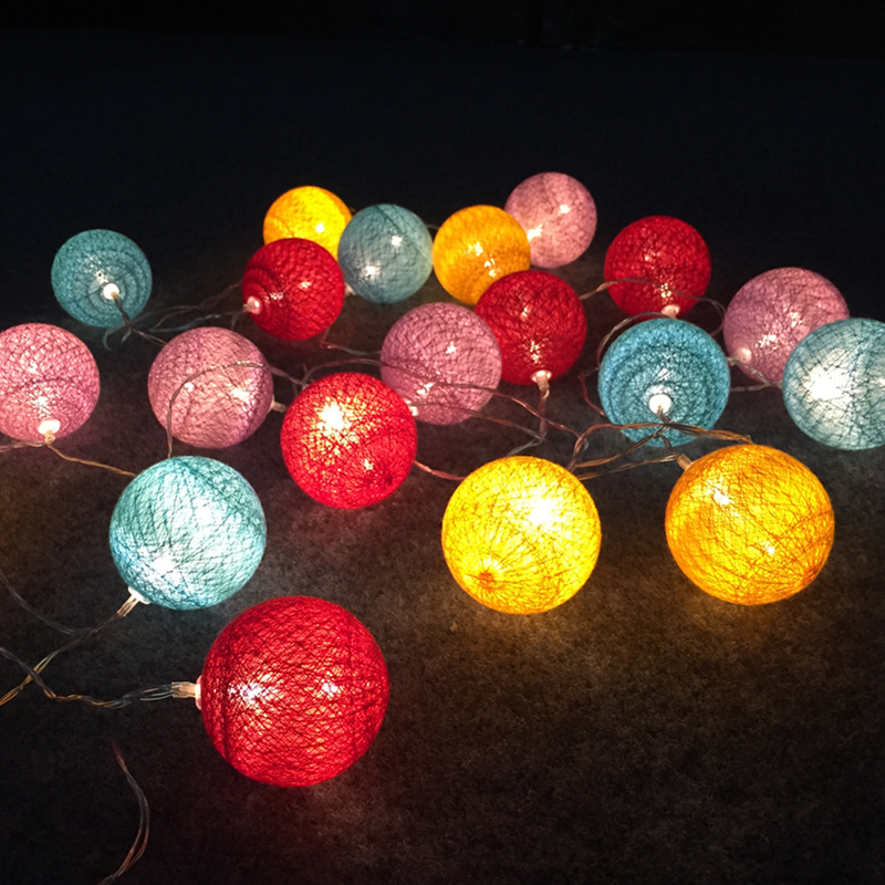 Led Cotton Ball Lights String Christmas Decorative Festival Flashing Stars
