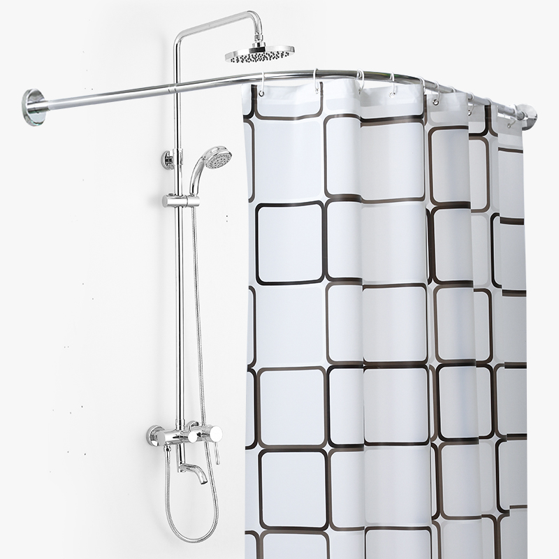 Bathroom Curved Shower Curtain Rod Set Free Punching