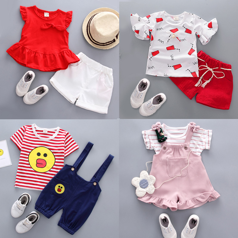 Children's clothing girls summer suit 2018 summer new baby virgin girl baby short-sleeved 1-3 years old 4-piece gas two-piece