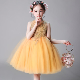 Girls birthday princess skirt children's wedding dress host piano performance service flower children evening dress fluffy yarn spring summer