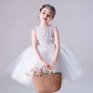 Little girl dress wedding children princess dress piano catwalk show white performance dress girl wedding dress spring and summer new style