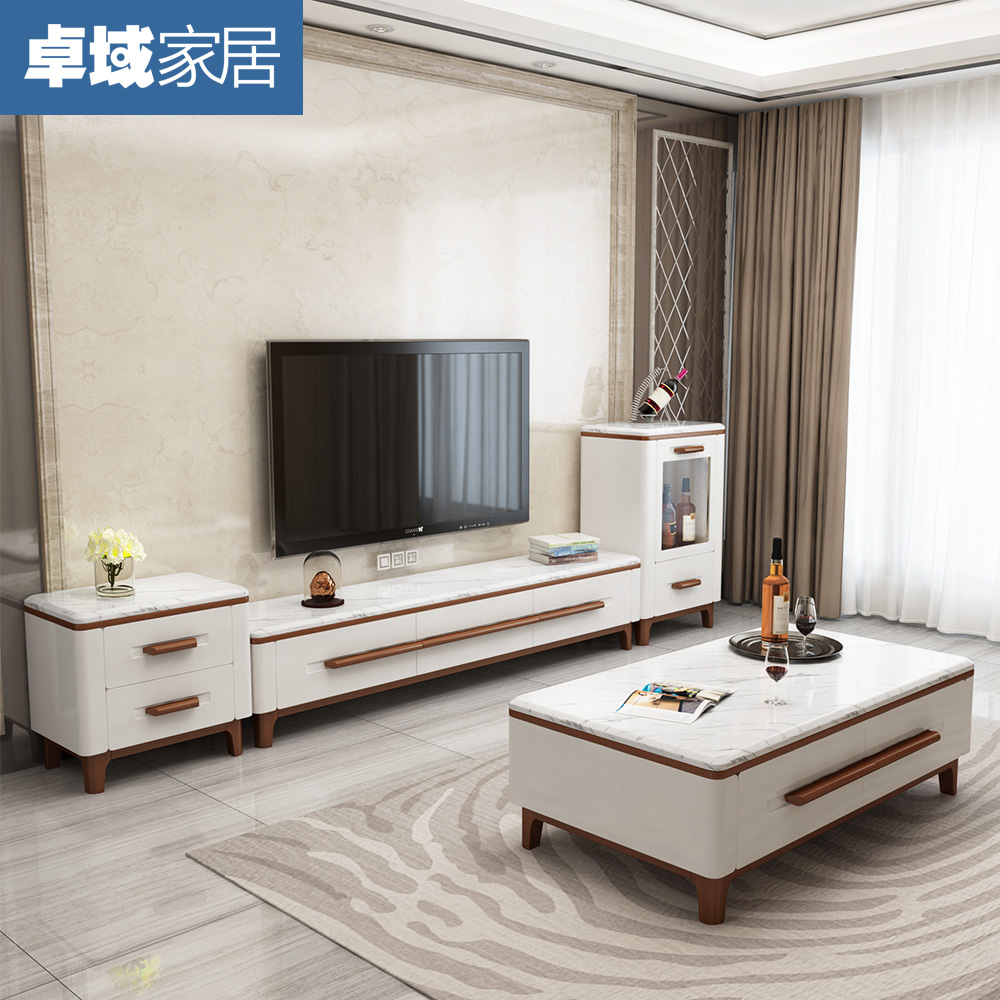 USD Marble Coffee Table Pack Natural Size Type Living Room - Coffee table tv stand combo