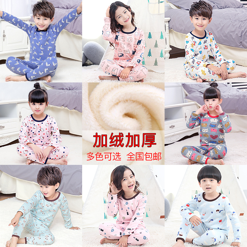 Children's thermal underwear set plus velvet thickening boys and girls Qiuyi Qiuku in the children's baby autumn and winter pajamas