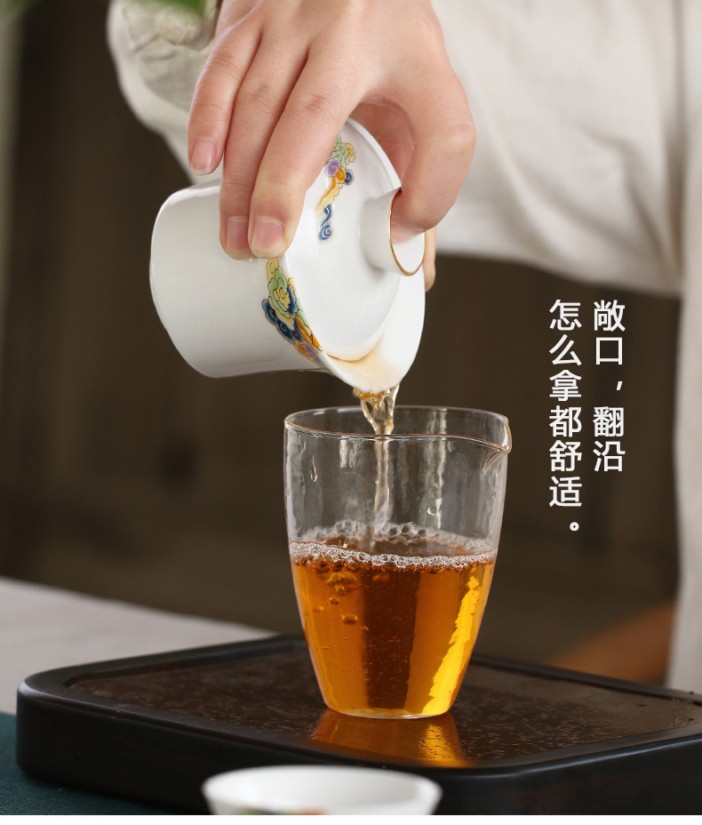 Ultimately responds to dehua white porcelain paint tureen manual effort only three bowl of tea bowl of a single large hot 150 ml