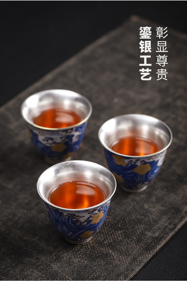 Enamel playmates toys empty coppering. As 999 silver cup of jingdezhen ceramic sample tea cup tea master cup personal cup silver cup