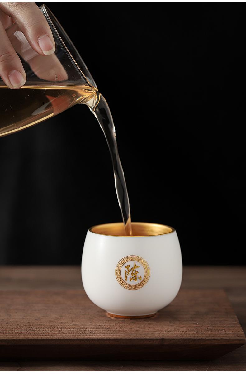 Kaolin white porcelain fine gold surname cup tea sample tea cup kunfu tea master cup tea cup individual cup of tea cup
