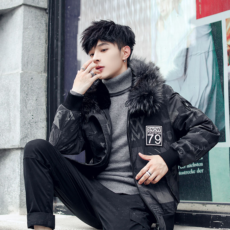 Pai overcomemen's short 2019 winter new fur one-piece rabbit fur inside the bold fur collar jacket man