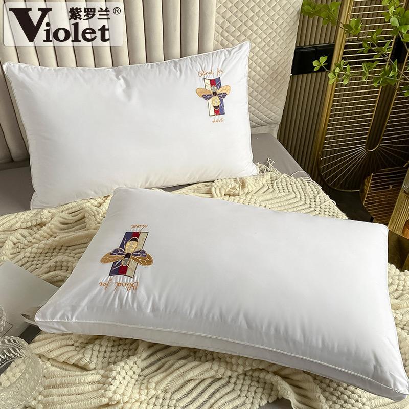 防螨率89%,纯棉抗菌可水洗:1对 紫罗兰 全棉刺绣丝绒枕头