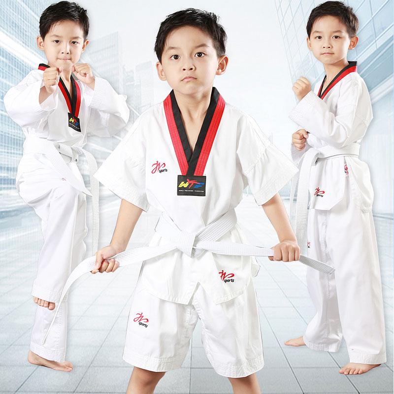 Пик Tae чистый хлопок Тейквондо костюм детские осень Обучающий костюм взрослый короткий рукав мужские и женские Начинающие таэквондо GI