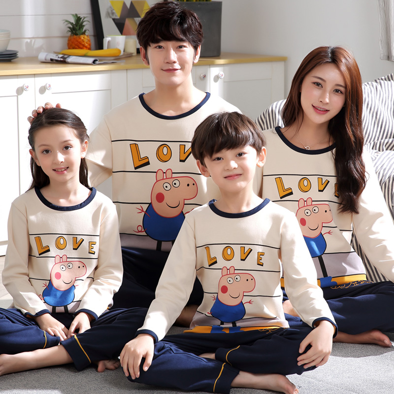 fb6a9a1aed20e Boys pajamas long-sleeved cotton spring and autumn parent-child pajamas  mother and daughter a family of three girls children's home service suits