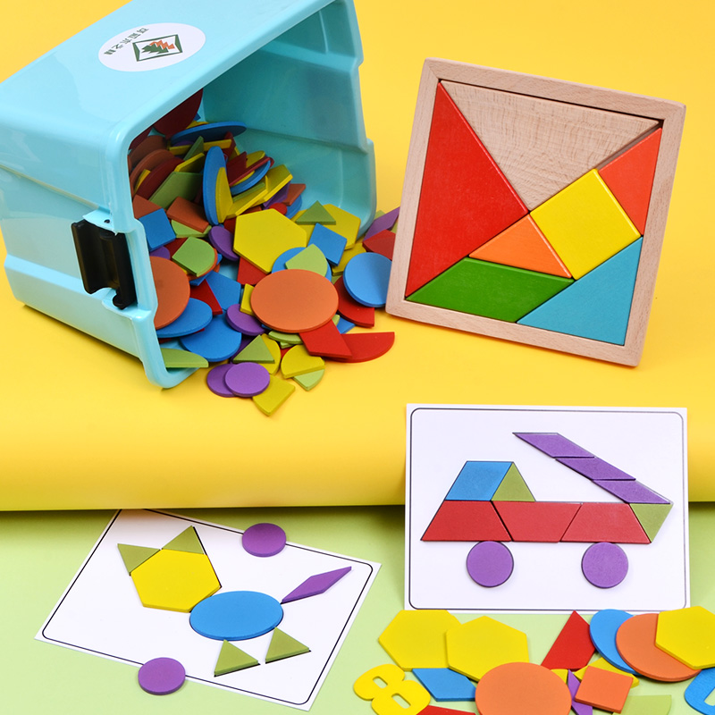 儿童益智力拼图七巧板2-3-4-6-7周岁男孩女孩宝宝早教玩具积木质5