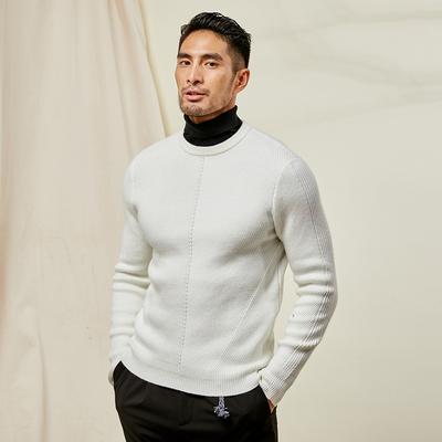 Áo khoác nam JDV mùa thu 2019 Mới nam mặc thuần khiết Màu cổ điển cổ tròn áo thun dệt kim Retro áo len nam - Áo len