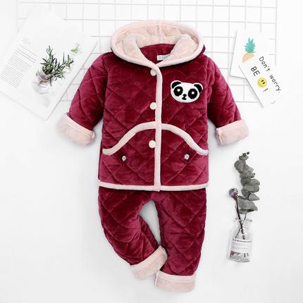 秋冬季兒童睡衣珊瑚絨小孩寶寶三層加厚款家居服男童女孩夾棉棉襖