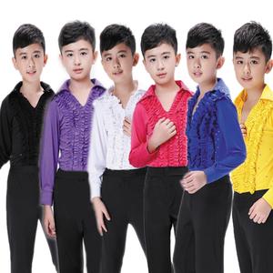 Boys latin dance shirt Boys Latin dance clothing children Dance Dress boys and girls training clothes Long Sleeve Dance Academy Ballet Performance Costume