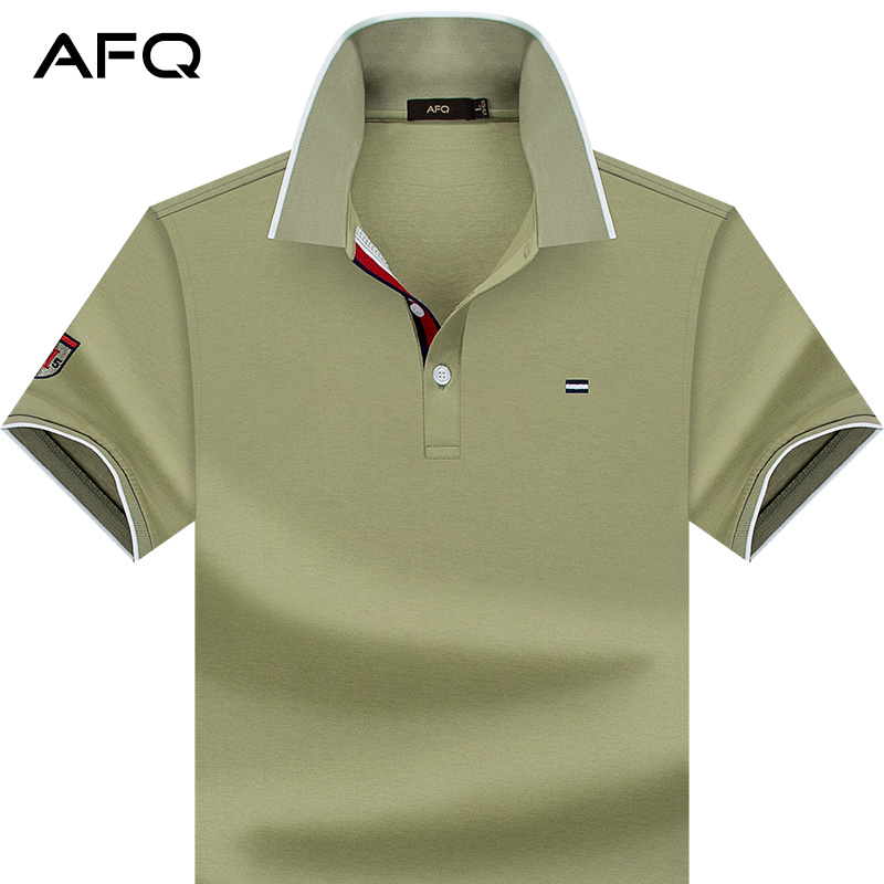 97f056ad252 AFQ summer men s solid color mercerized cotton short-sleeved T-shirt casual cotton  lapel compassionate POLO shirt large size half-sleeved