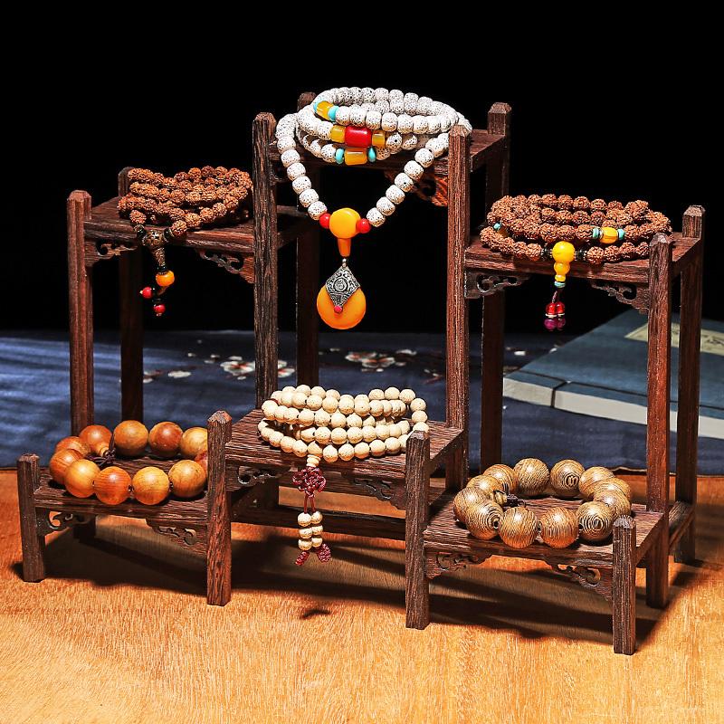 展示道具展示架佛珠文玩摆件古玩手串实木托盘玉器复古v道具影项链
