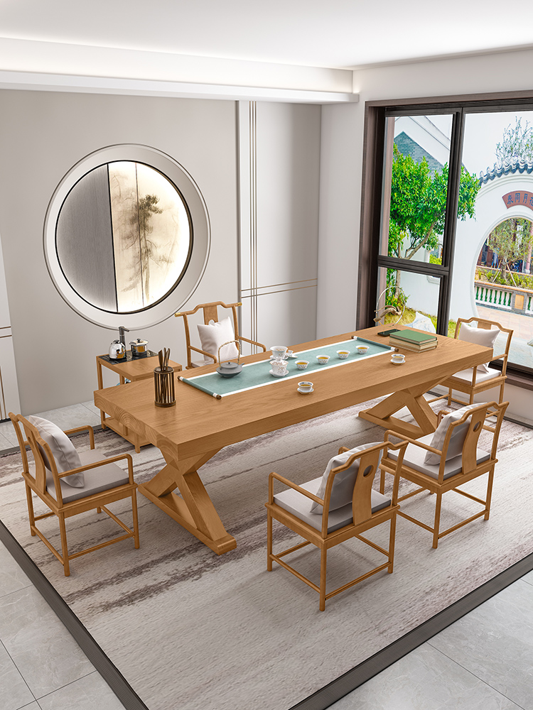 New Chinese solid wood tea table and chair combination Simple modern household tea table Living room tea table Office Kung Fu tea table