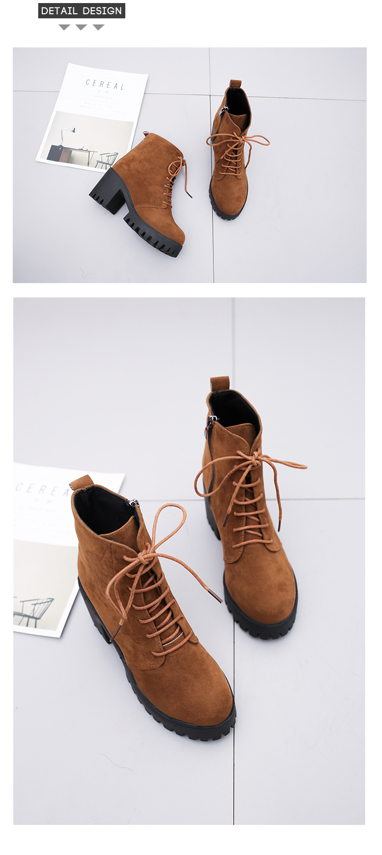 2018 new short tube autumn and winter women's boot thick with high-heeled solid color round head fashion casual warm boots wome 22