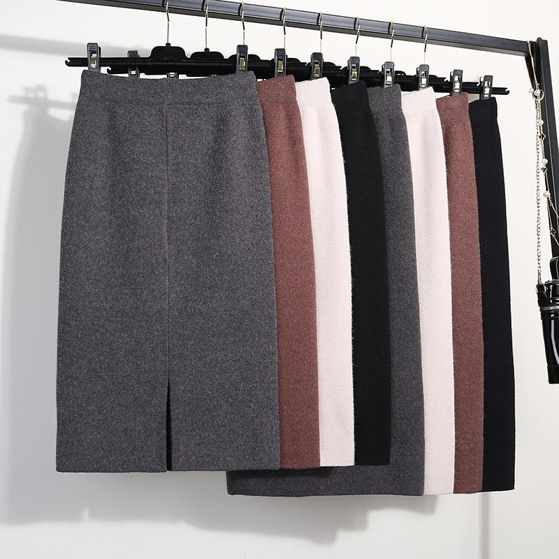 开叉针织半身裙女一步裙秋冬装中长款包臀裙高腰裙子加厚长裙毛线