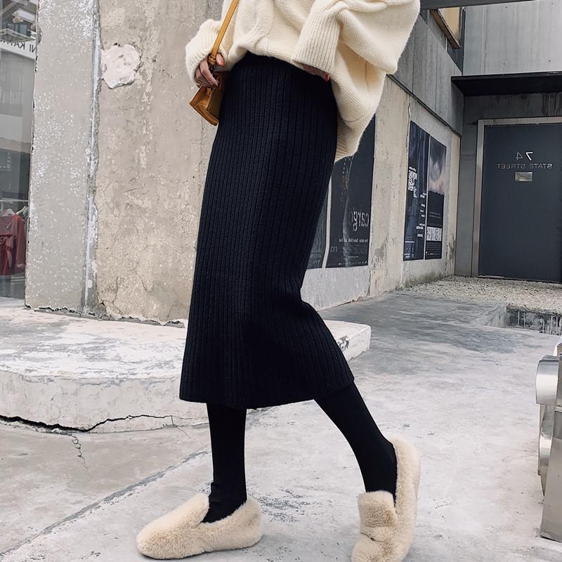 中长款针织裙子裙一步裙包臀裙女秋冬季高腰半身加厚开叉长裙毛线