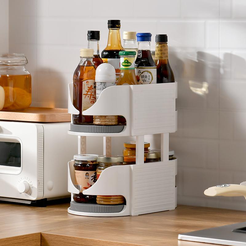 多功能旋转调味品架厨房置物架调味架多层收纳架调料架双层转盘