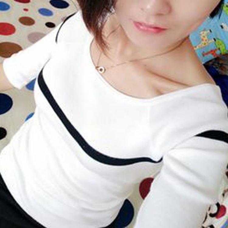 2017韩版春秋一字领套头针织衫女修身百搭长袖单件纯棉毛衣小外套