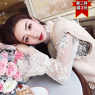 Western style autumn and winter women's thin and large size openwork lace shirt pullover mesh top long sleeve stand collar bottoming shirt