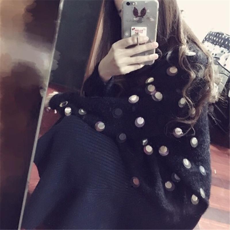 短款加厚马海毛秋冬女亮片宽松水貂学生套头貂毛外套绒毛衣针织衫