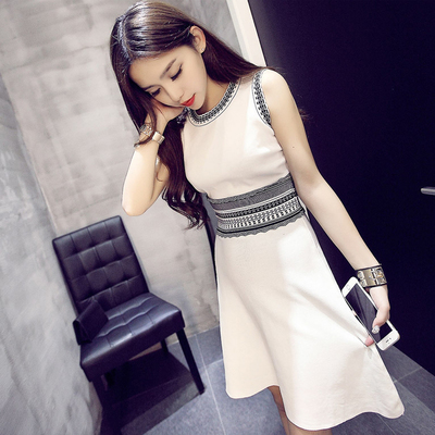 Korea 2017 spring and summer new women's long knit tank top Slim sleeveless small incense dress
