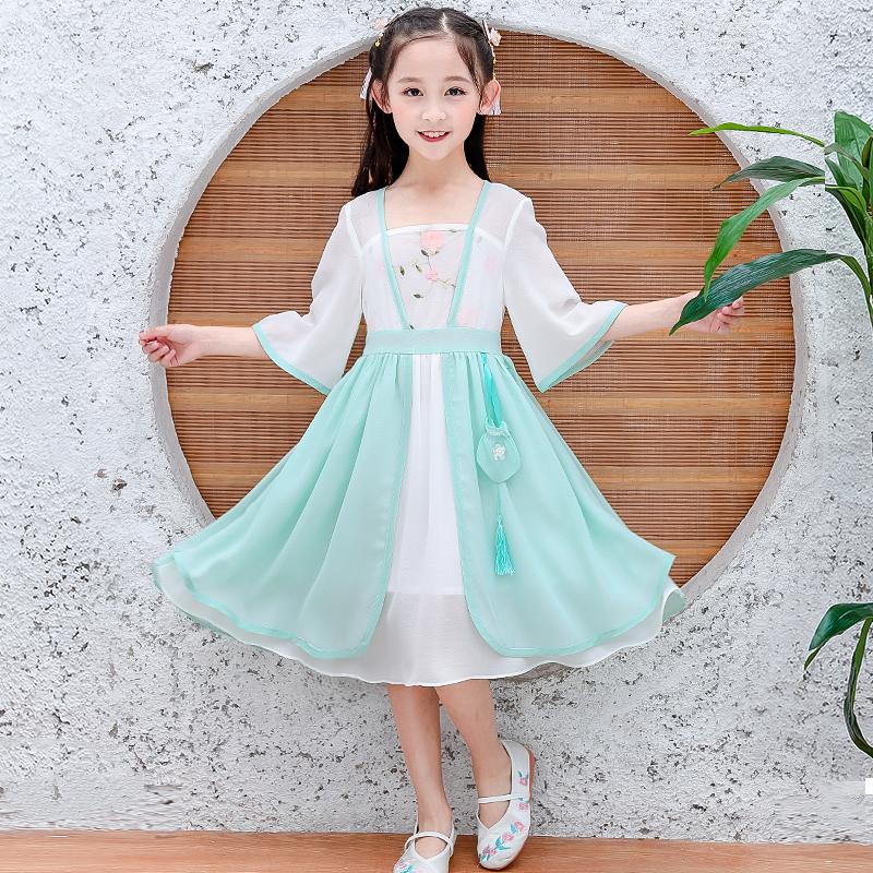 6到12岁13夏装14女孩装9小孩子女童连衣长裙8公主汉服7夏天裙子。