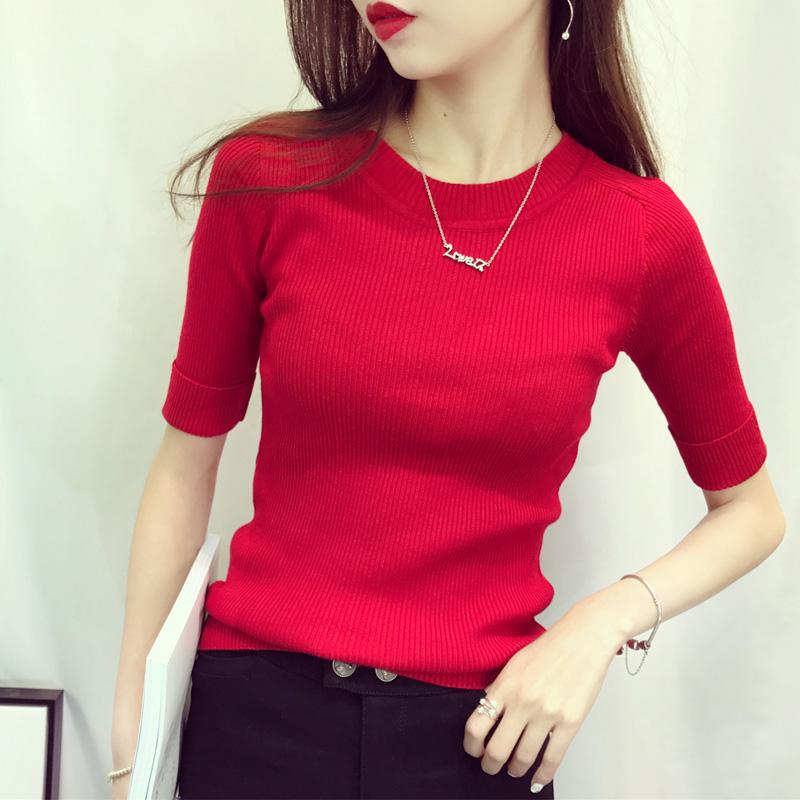 2018韩版秋装新款女士修身弹力卷袖卷边针织衫圆领中袖套头打底衫