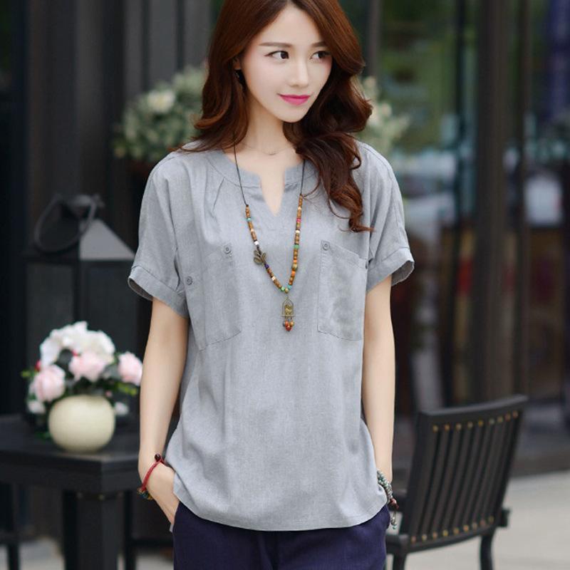 Mùa hè 2020 mới cỡ lớn cho phụ nữ Hàn Quốc giản dị cotton ngắn tay và áo thun nữ rộng rãi áo sơ mi vải lanh - Áo sơ mi