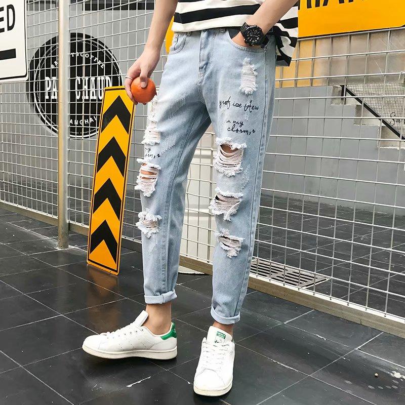 破洞牛仔裤男宽松潮直筒ulzzang九分裤夏季韩版潮流男生9分乞丐裤