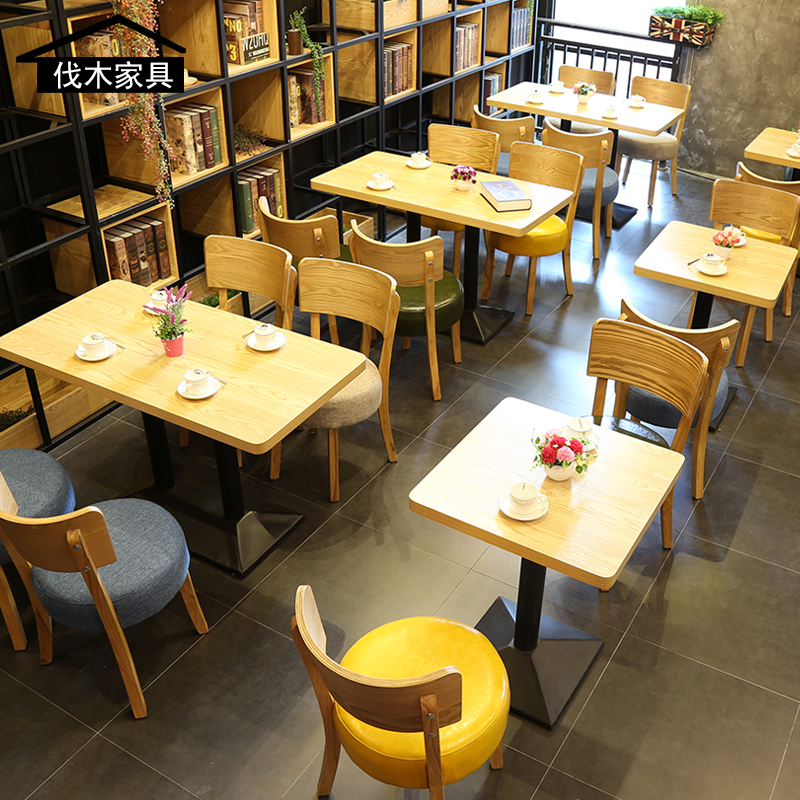 Net Red Coffee Shop Tables And Chairs Simple Fresh Food Restaurant Dessert  Shop Tea Shop Fast ...