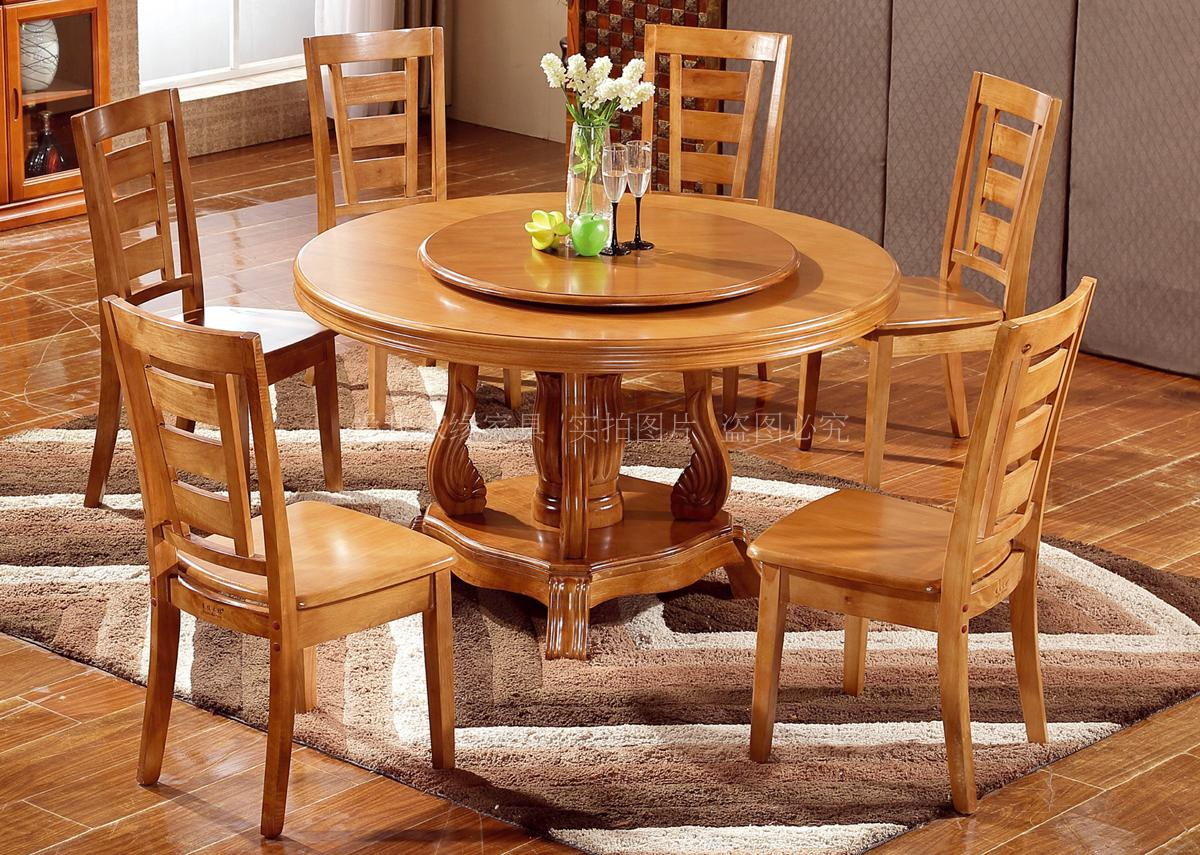 Factory direct sale solid wood rubber wood dining table and chair combination home hotel hotel dining