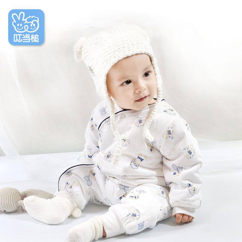 婴儿衣服新生儿夹棉宝宝连体衣婴儿春装女加厚保暖0-1岁春款棉衣