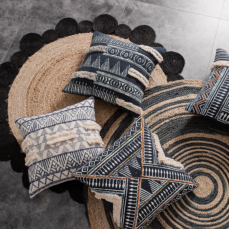 印度进口摩洛哥手工印花波西米亚北欧沙发抱枕靠垫民宿装饰客厅