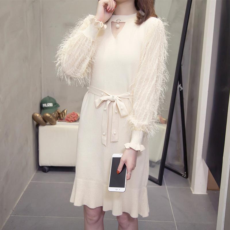 亚博娱乐平台入口 2019初秋季新款大码女装时尚毛衣女宽松微胖妹妹连衣裙洋气