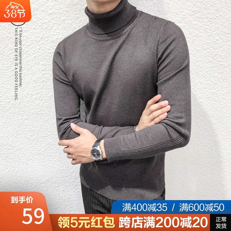 Mùa thu đông mới áo len nam cao cổ mỏng màu rắn xu hướng hoang dã Phiên bản Hàn Quốc của áo len bó sát thắt lưng nam - Cặp đôi áo len