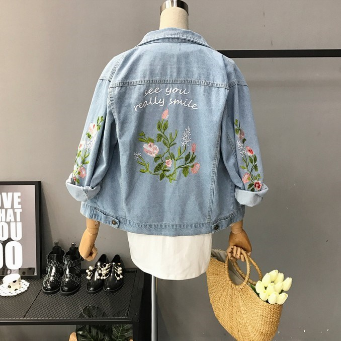 2018 Spring and Autumn new denim girl Korean version embroidered flowers literary coat national windbreaker top students