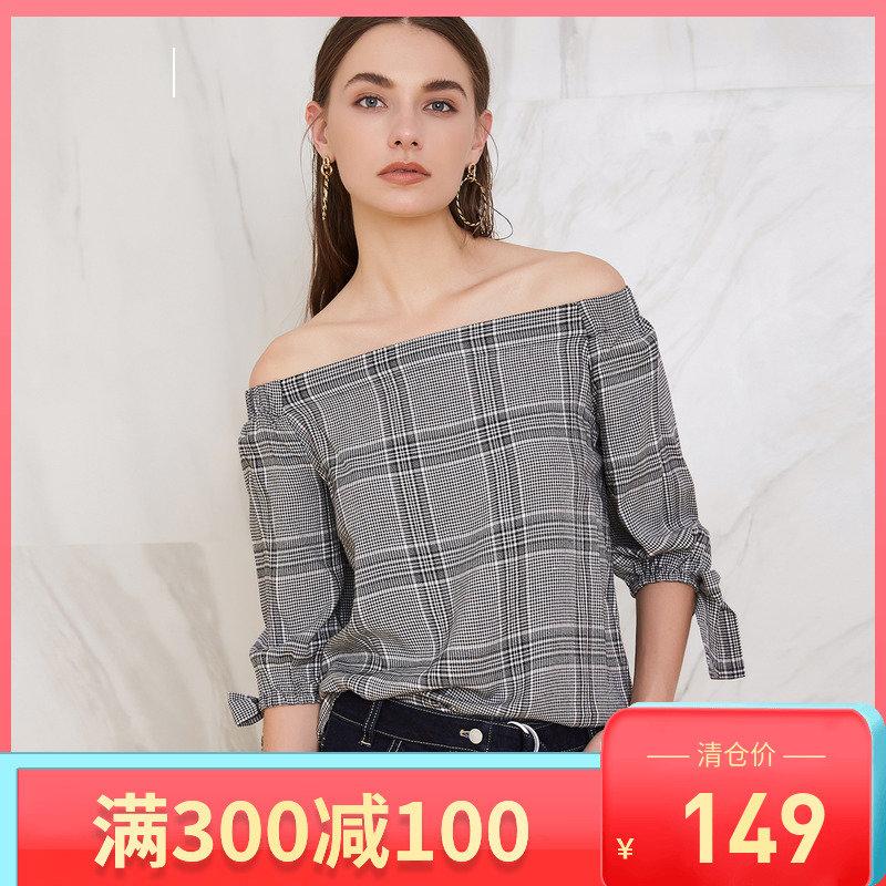 LaChapelle/拉夏贝尔2019春季新款衬衫格子chic韩版一字领淑女风
